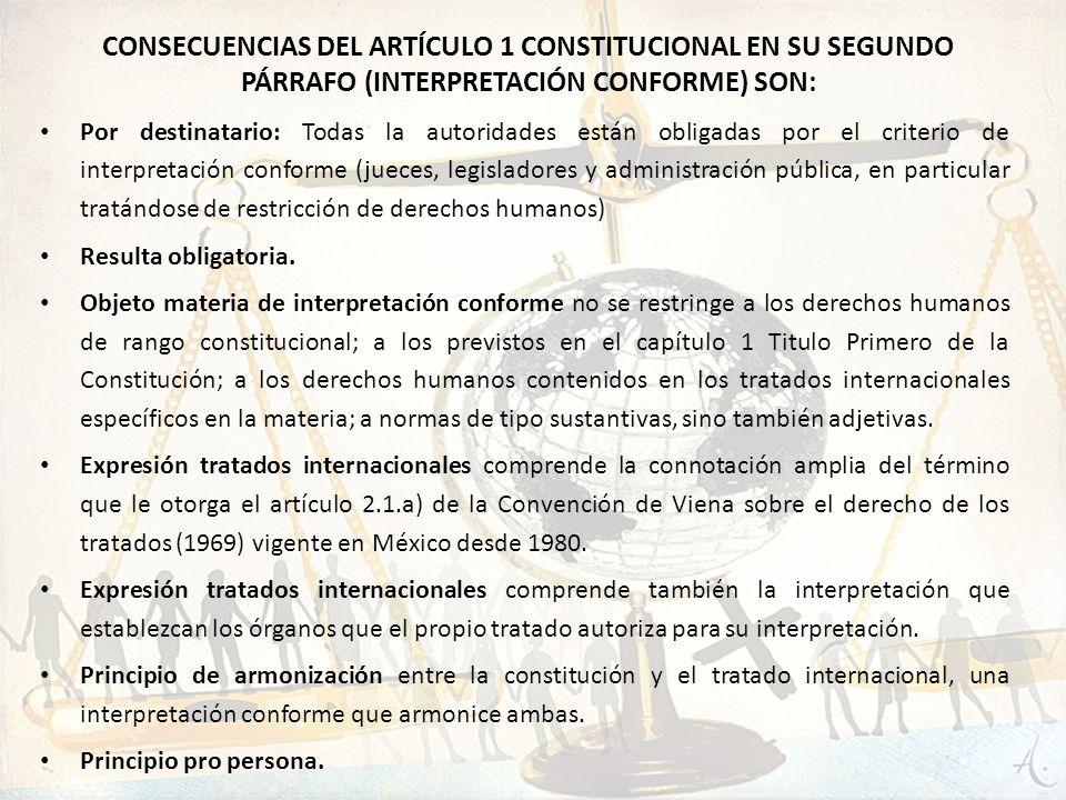 Consecuencias del artículo 1 constitucional en su segundo párrafo (interpretación conforme) son: