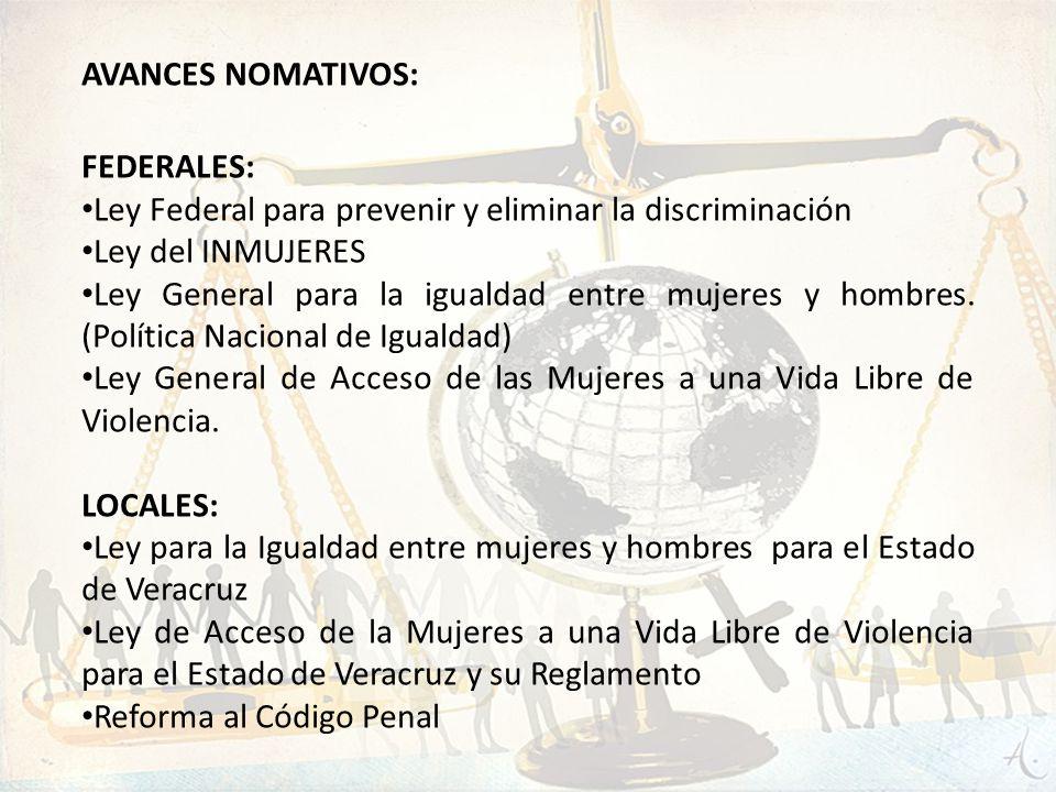 AVANCES NOMATIVOS: FEDERALES: Ley Federal para prevenir y eliminar la discriminación. Ley del INMUJERES.