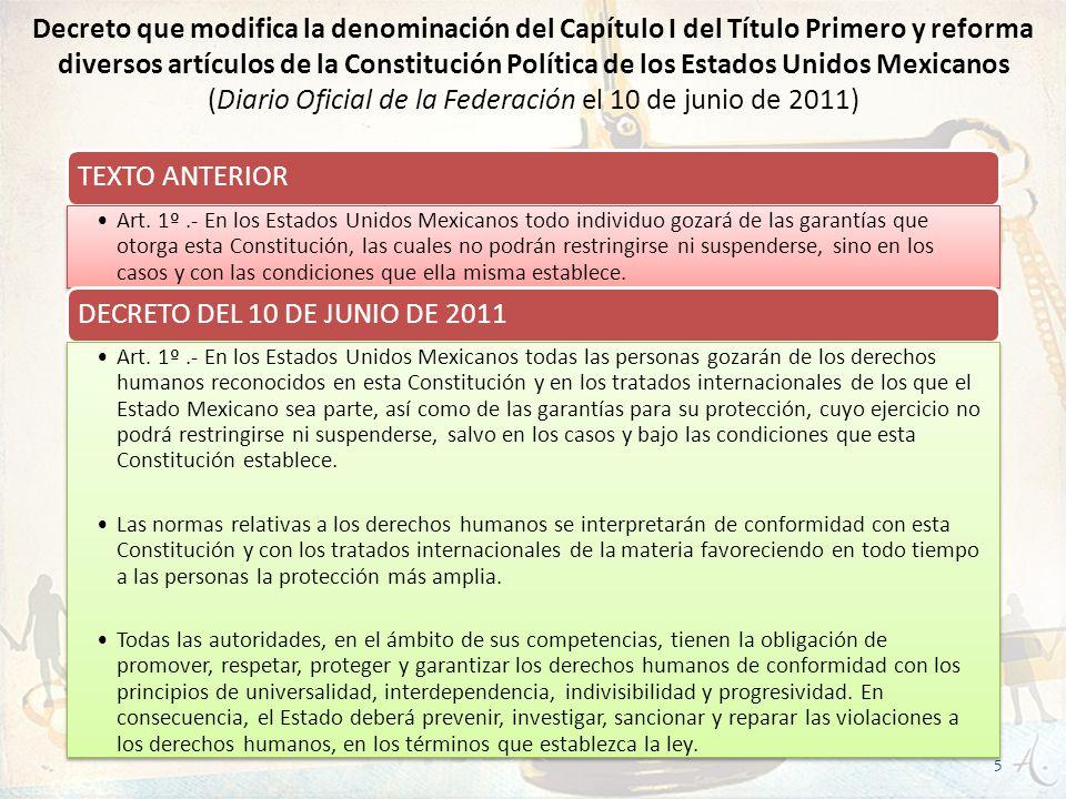 Decreto que modifica la denominación del Capítulo I del Título Primero y reforma diversos artículos de la Constitución Política de los Estados Unidos Mexicanos (Diario Oficial de la Federación el 10 de junio de 2011)
