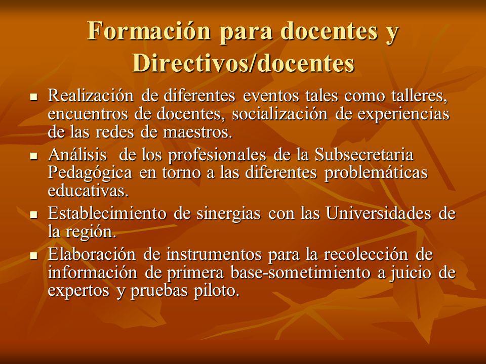 Formación para docentes y Directivos/docentes