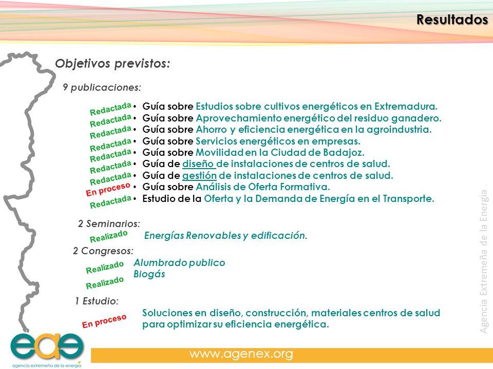 Resultados Objetivos previstos: www.agenex.org