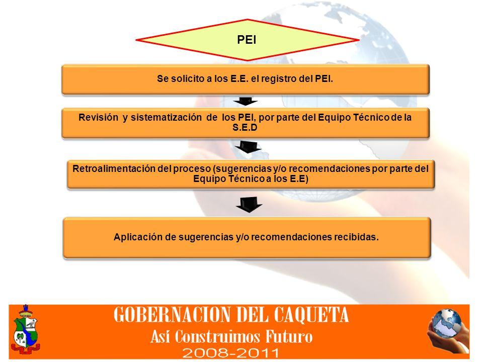 PEI Se solicito a los E.E. el registro del PEI. Revisión y sistematización de los PEI, por parte del Equipo Técnico de la S.E.D.
