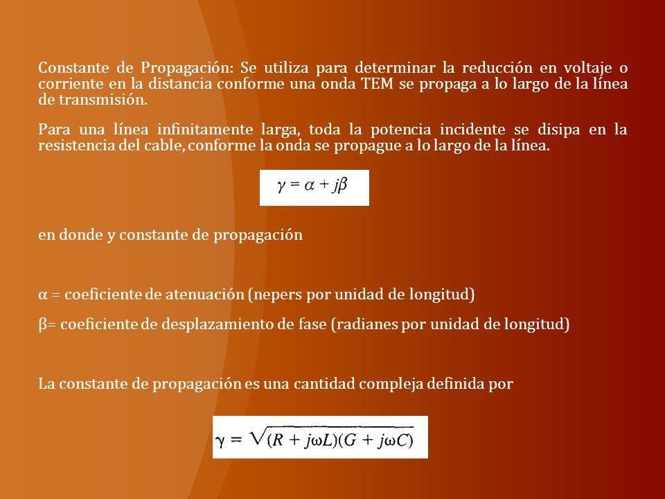 Constante de Propagación: Se utiliza para determinar la reducción en voltaje o corriente en la distancia conforme una onda TEM se propaga a lo largo de la línea de transmisión.