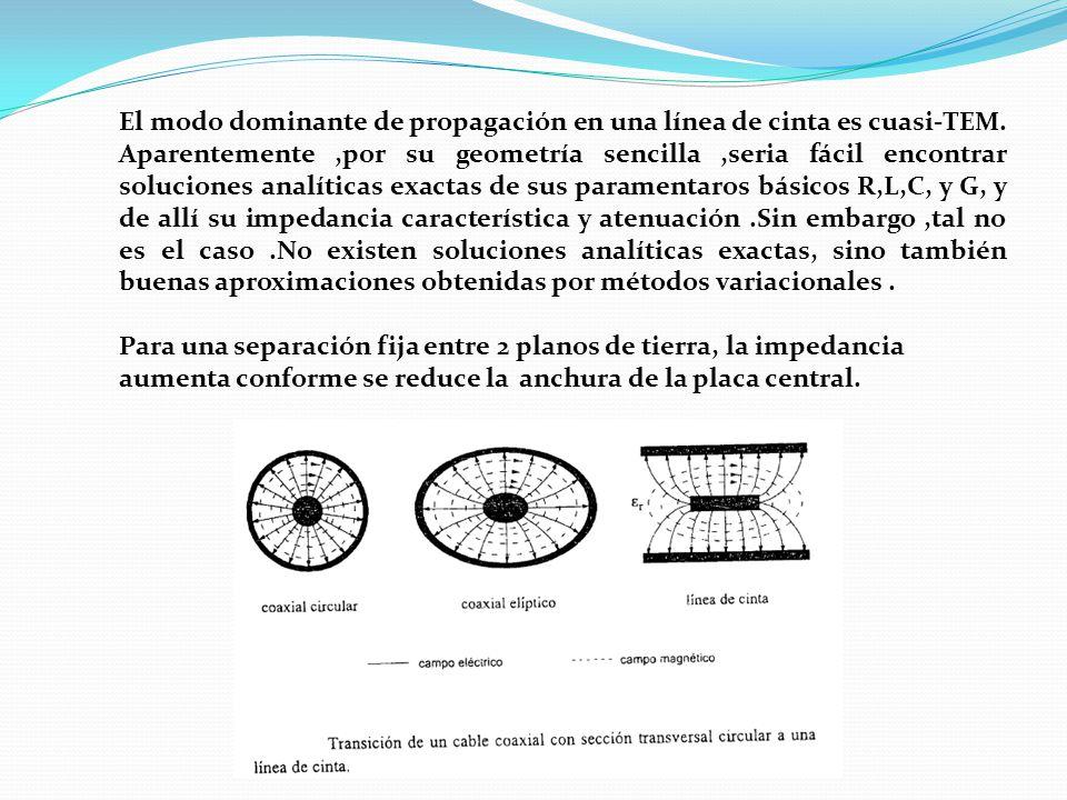 El modo dominante de propagación en una línea de cinta es cuasi-TEM
