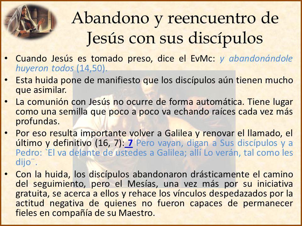 Abandono y reencuentro de Jesús con sus discípulos