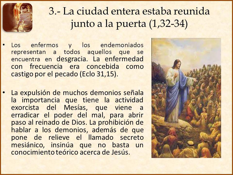 3.- La ciudad entera estaba reunida junto a la puerta (1,32-34)