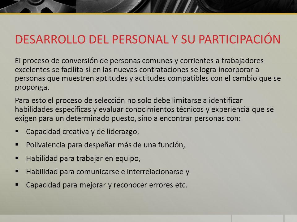DESARROLLO DEL PERSONAL Y SU PARTICIPACIÓN