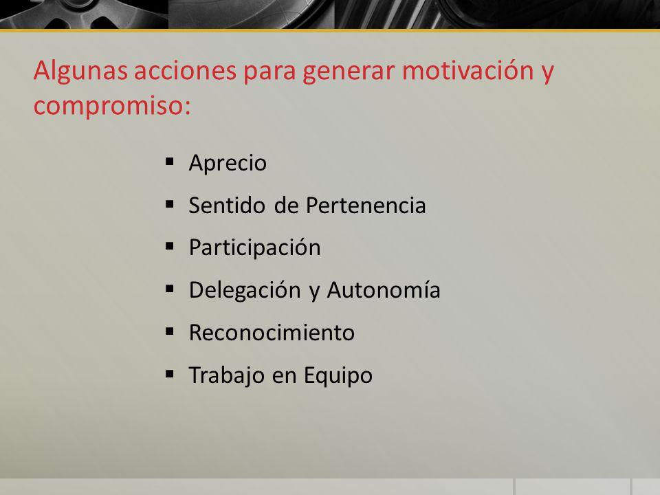 Algunas acciones para generar motivación y compromiso: