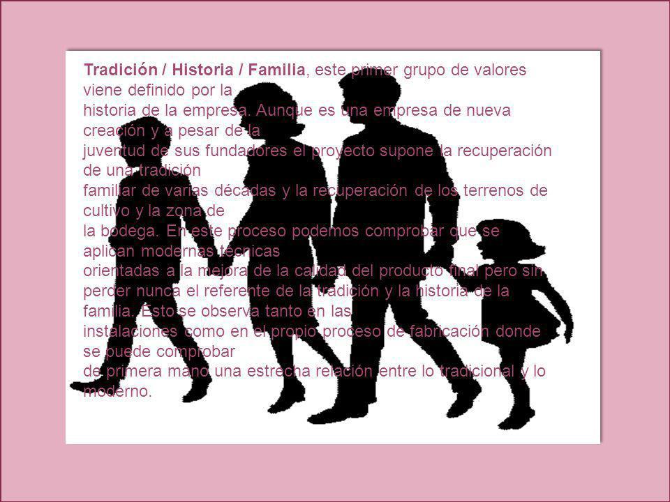 Tradición / Historia / Familia, este primer grupo de valores viene definido por la
