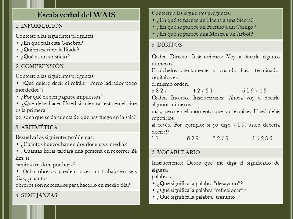 Escala verbal del WAIS Conteste a las siguientes preguntas: