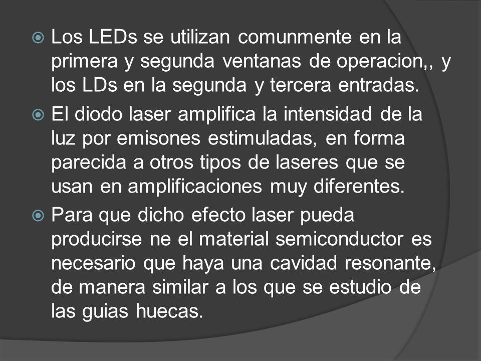 Los LEDs se utilizan comunmente en la primera y segunda ventanas de operacion,, y los LDs en la segunda y tercera entradas.