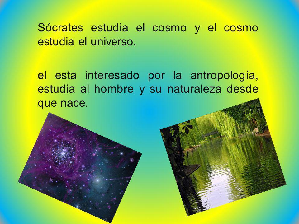 Sócrates estudia el cosmo y el cosmo estudia el universo.