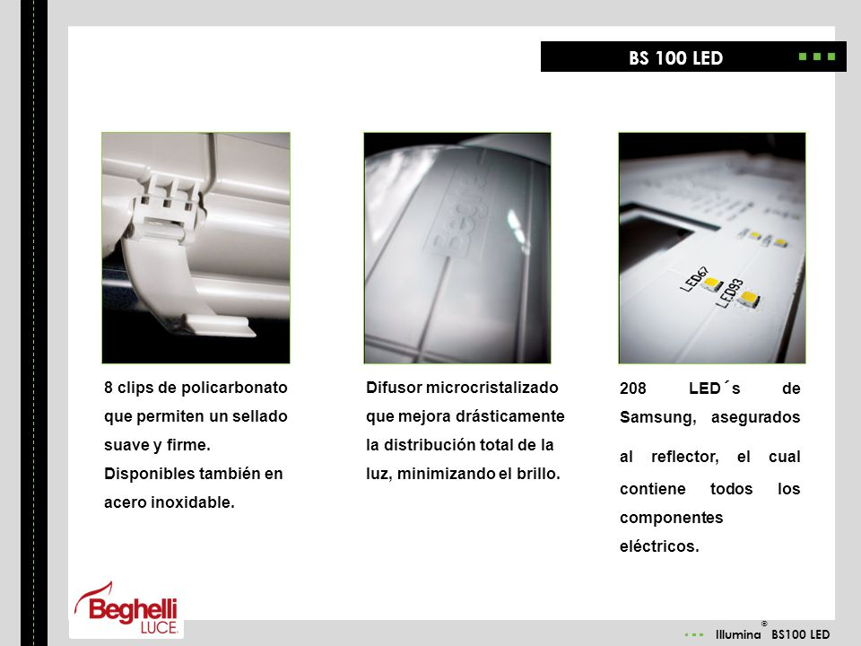 BS 100 LED 8 clips de policarbonato que permiten un sellado suave y firme. Disponibles también en acero inoxidable.