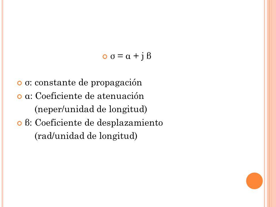 σ = α + j β σ: constante de propagación. α: Coeficiente de atenuación. (neper/unidad de longitud)