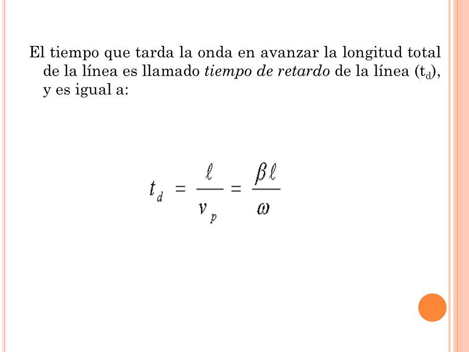 El tiempo que tarda la onda en avanzar la longitud total de la línea es llamado tiempo de retardo de la línea (td), y es igual a: