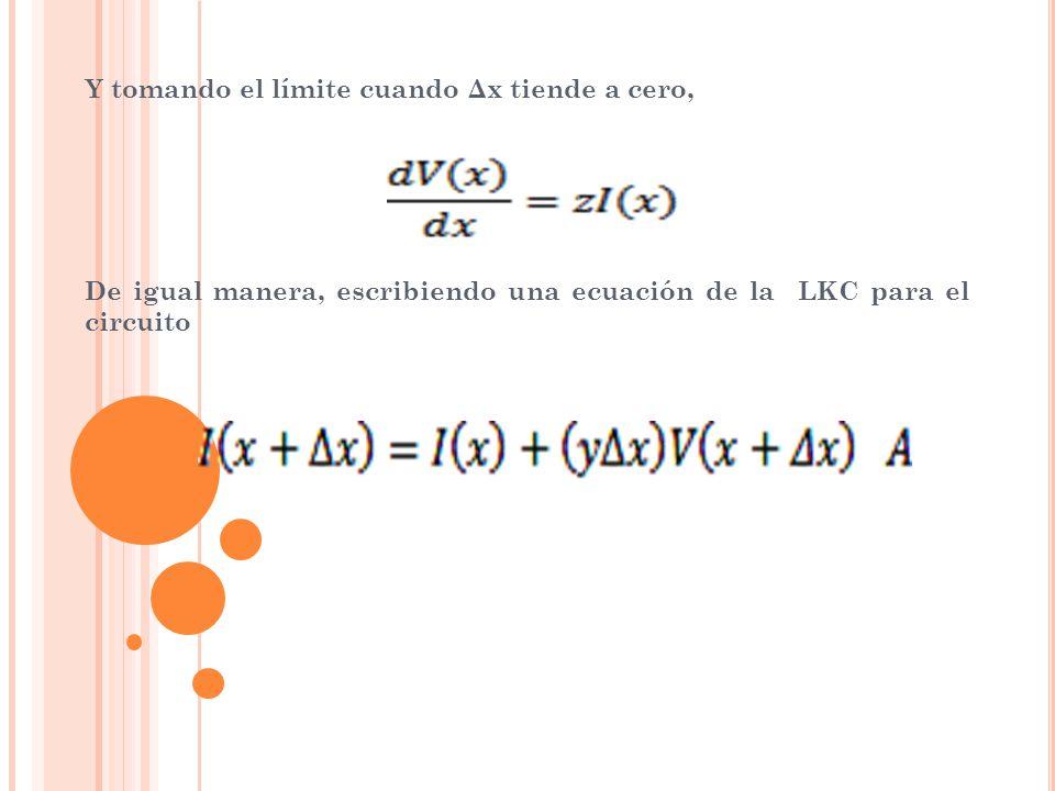 Y tomando el límite cuando Δx tiende a cero,