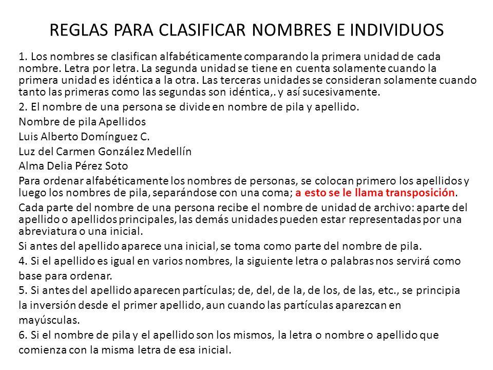 REGLAS PARA CLASIFICAR NOMBRES E INDIVIDUOS