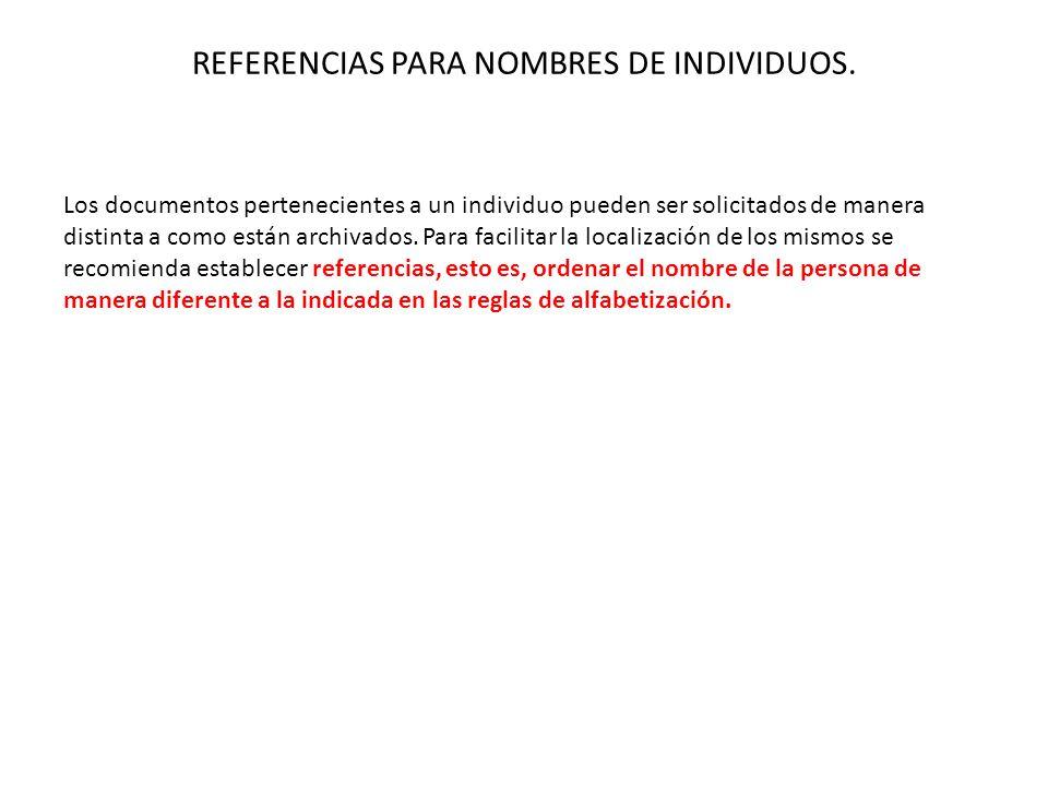 REFERENCIAS PARA NOMBRES DE INDIVIDUOS.