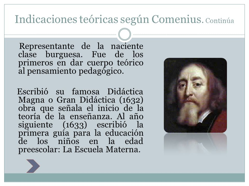 Indicaciones teóricas según Comenius. Continúa