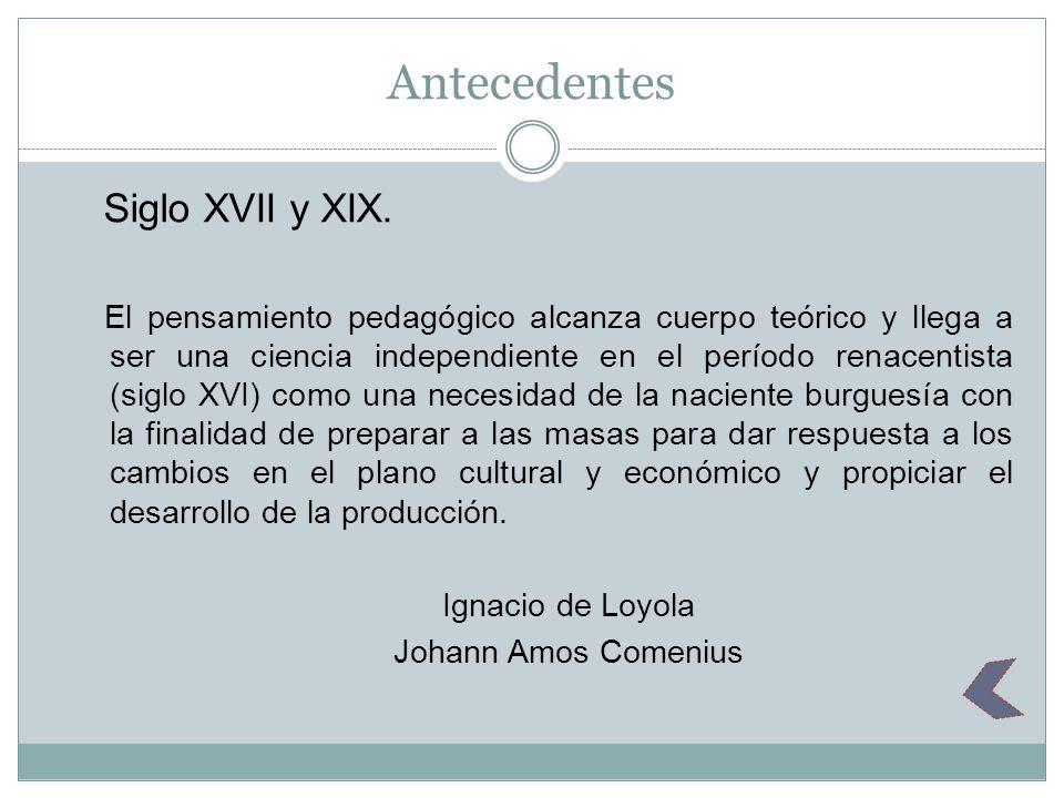 Antecedentes Siglo XVII y XIX.