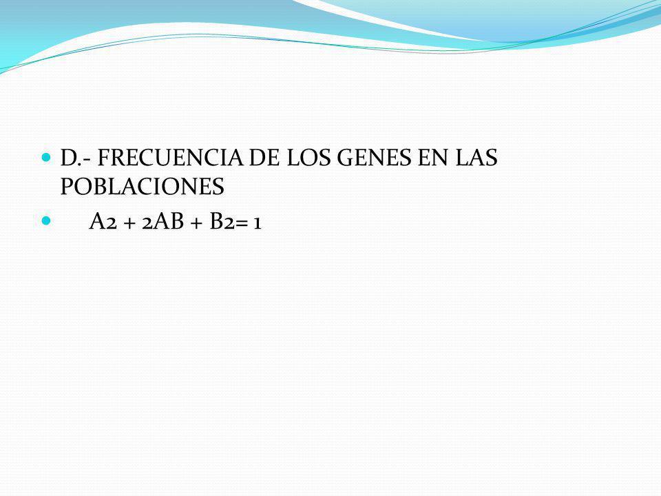 D.- FRECUENCIA DE LOS GENES EN LAS POBLACIONES