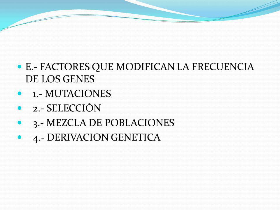 E.- FACTORES QUE MODIFICAN LA FRECUENCIA DE LOS GENES