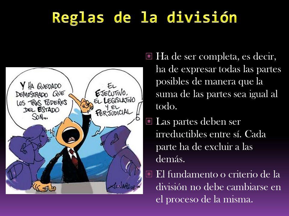 Reglas de la división