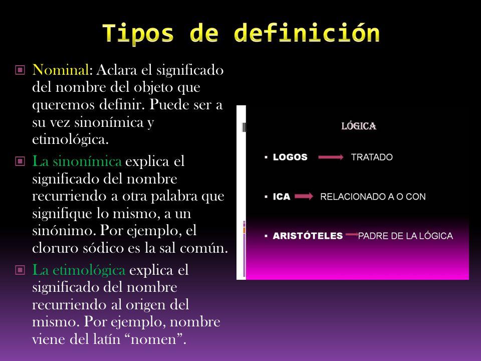 Tipos de definición Nominal: Aclara el significado del nombre del objeto que queremos definir. Puede ser a su vez sinonímica y etimológica.