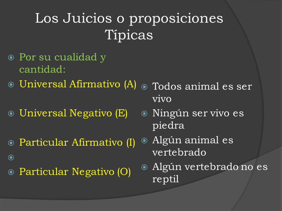 Los Juicios o proposiciones Típicas