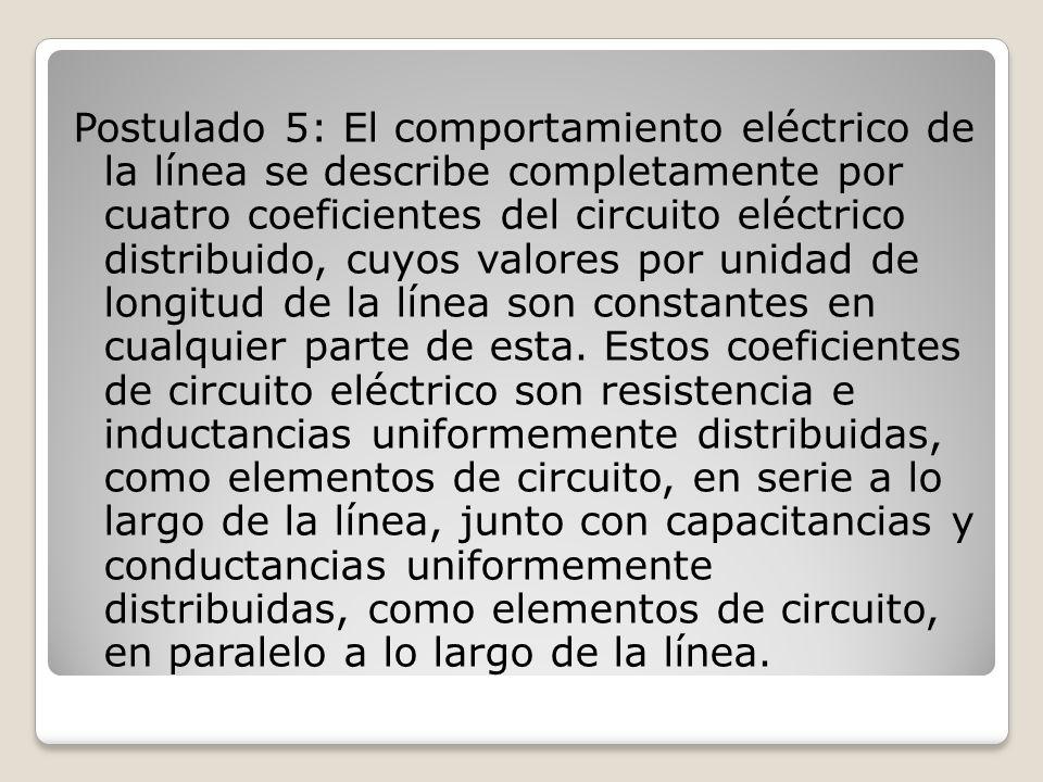 Postulado 5: El comportamiento eléctrico de la línea se describe completamente por cuatro coeficientes del circuito eléctrico distribuido, cuyos valores por unidad de longitud de la línea son constantes en cualquier parte de esta.