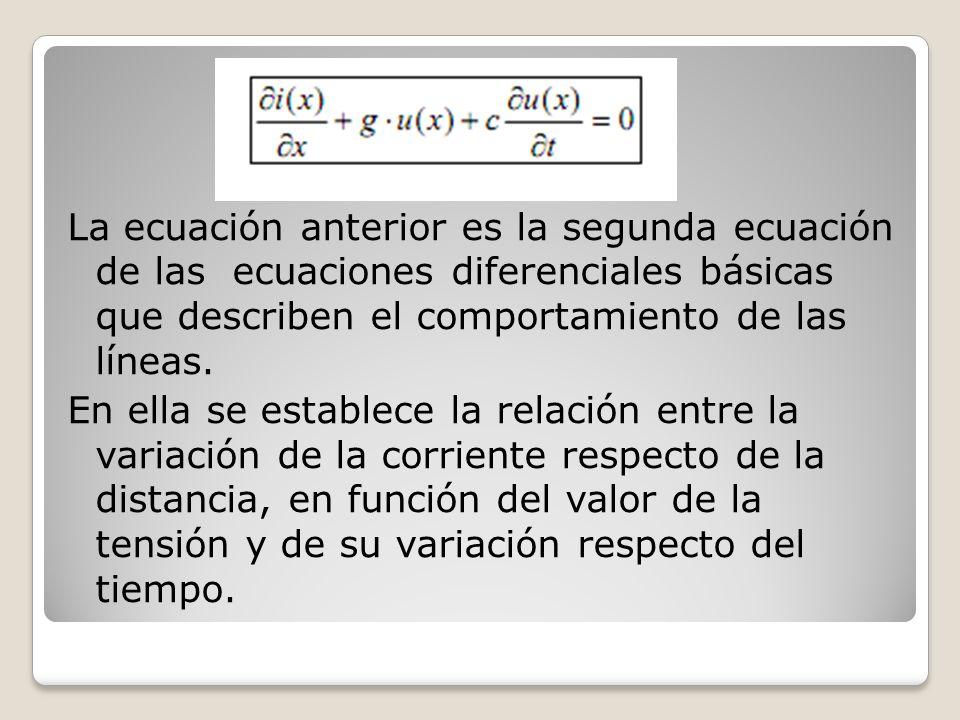 La ecuación anterior es la segunda ecuación de las ecuaciones diferenciales básicas que describen el comportamiento de las líneas.