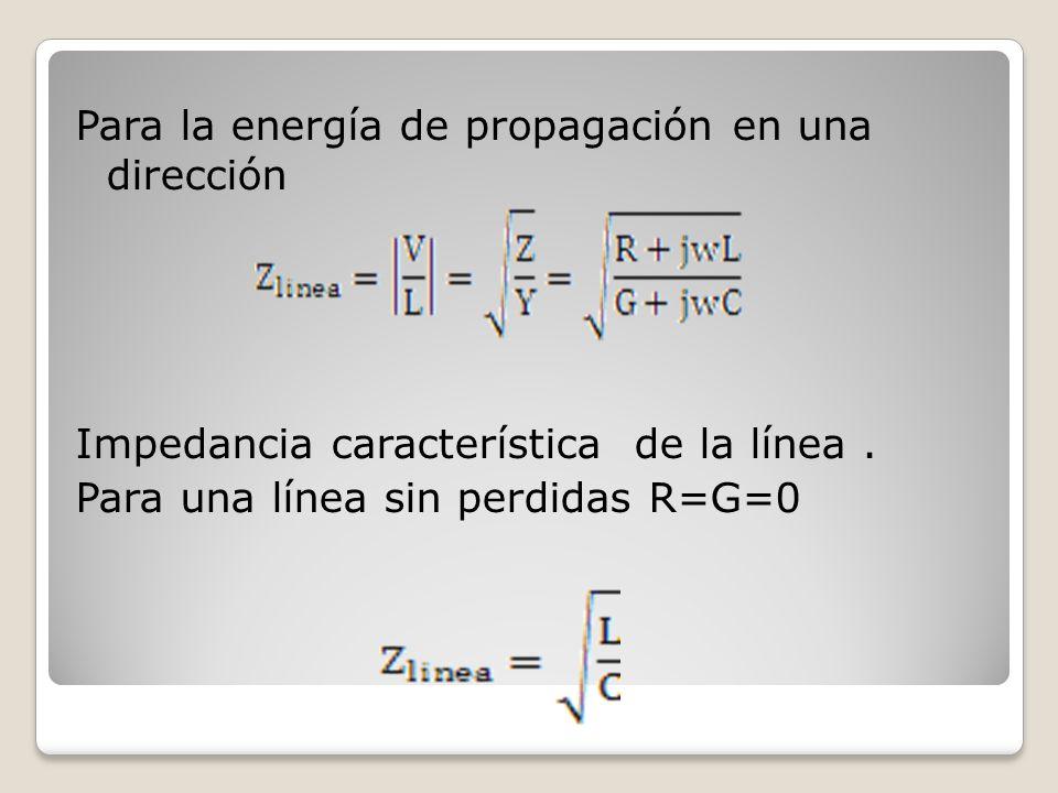 Para la energía de propagación en una dirección Impedancia característica de la línea .