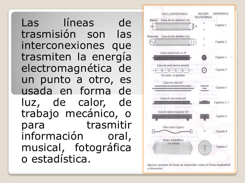 Las líneas de trasmisión son las interconexiones que trasmiten la energía electromagnética de un punto a otro, es usada en forma de luz, de calor, de trabajo mecánico, o para trasmitir información oral, musical, fotográfica o estadística.