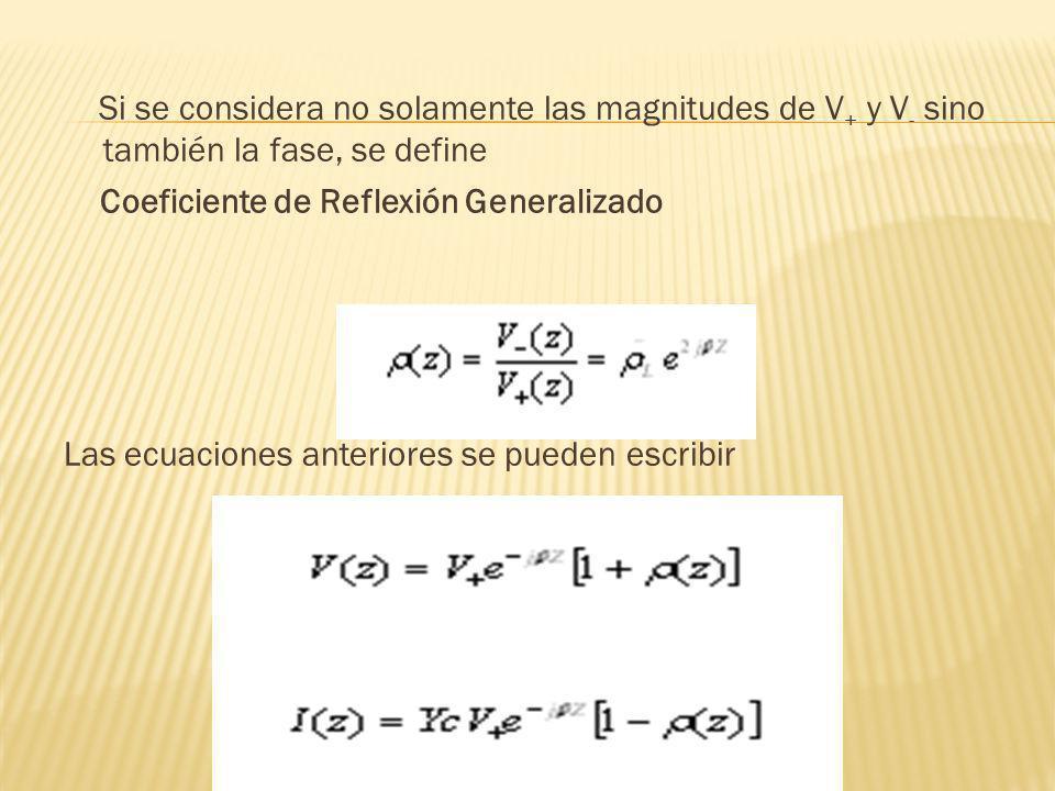 Si se considera no solamente las magnitudes de V+ y V- sino también la fase, se define Coeficiente de Reflexión Generalizado Las ecuaciones anteriores se pueden escribir