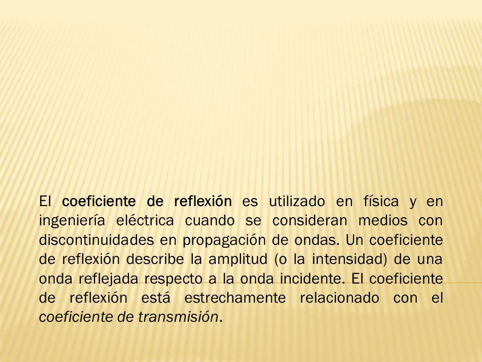 El coeficiente de reflexión es utilizado en física y en ingeniería eléctrica cuando se consideran medios con discontinuidades en propagación de ondas.