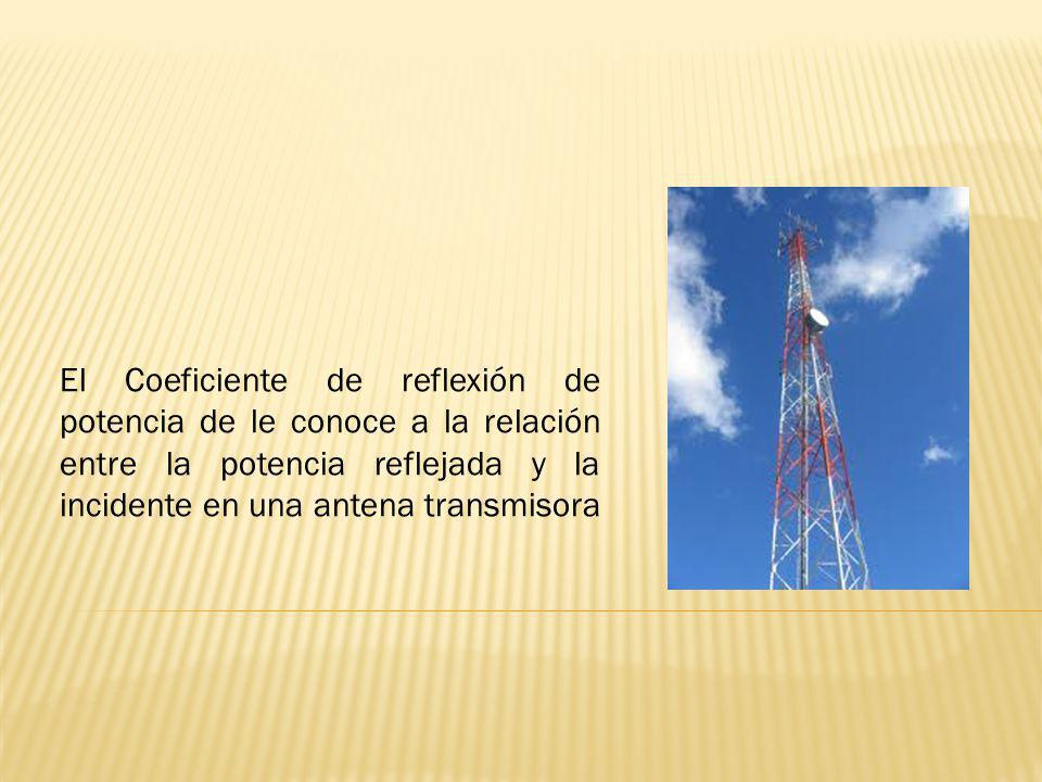 El Coeficiente de reflexión de potencia de le conoce a la relación entre la potencia reflejada y la incidente en una antena transmisora