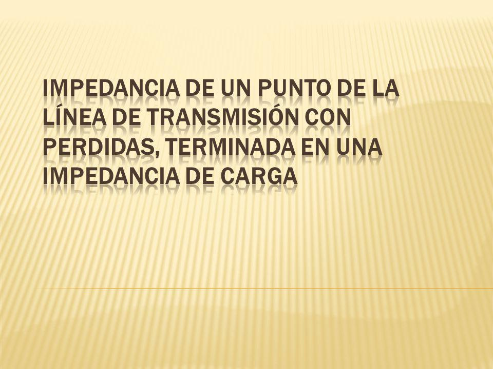 IMPEDANCIA DE UN PUNTO DE LA LÍNEA DE TRANSMISIÓN CON PERDIDAS, TERMINADA EN UNA IMPEDANCIA DE CARGA