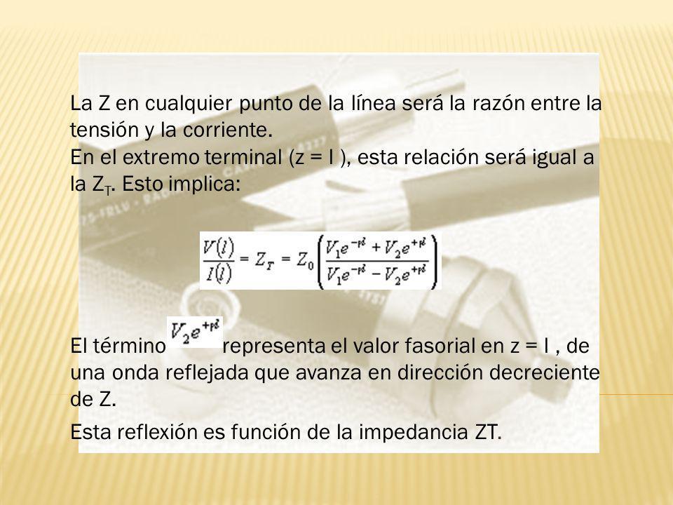 La Z en cualquier punto de la línea será la razón entre la tensión y la corriente. En el extremo terminal (z = l ), esta relación será igual a la ZT. Esto implica: