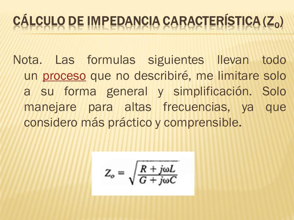 CÁLCULO DE IMPEDANCIA CARACTERÍSTICA (Z0)