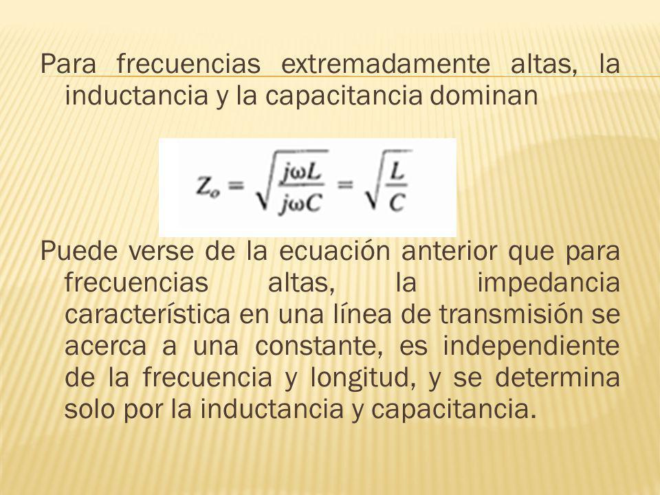 Para frecuencias extremadamente altas, la inductancia y la capacitancia dominan Puede verse de la ecuación anterior que para frecuencias altas, la impedancia característica en una línea de transmisión se acerca a una constante, es independiente de la frecuencia y longitud, y se determina solo por la inductancia y capacitancia.