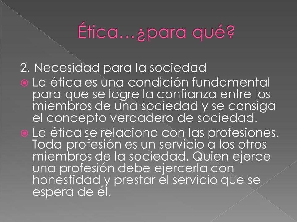 Ética…¿para qué 2. Necesidad para la sociedad