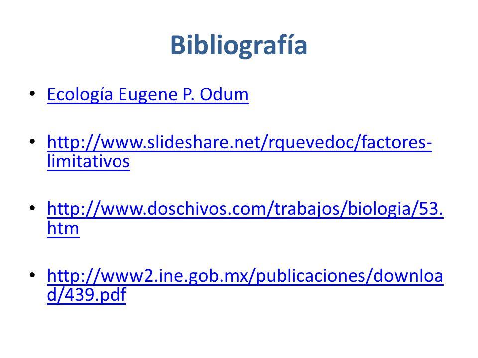 Bibliografía Ecología Eugene P. Odum