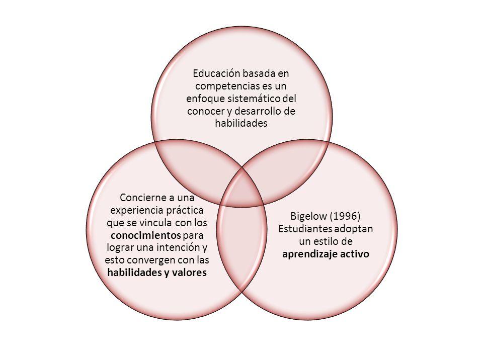 Bigelow (1996) Estudiantes adoptan un estilo de aprendizaje activo