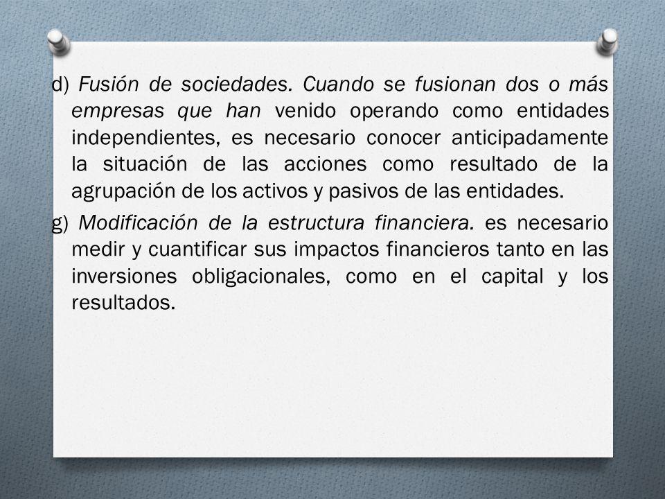 d) Fusión de sociedades