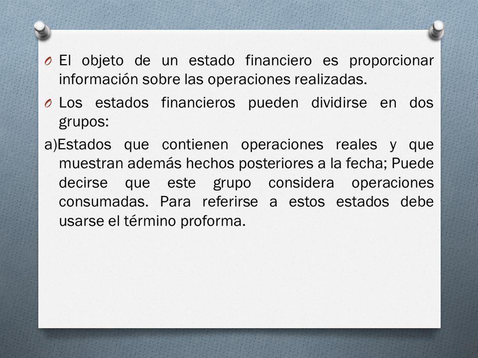 El objeto de un estado financiero es proporcionar información sobre las operaciones realizadas.