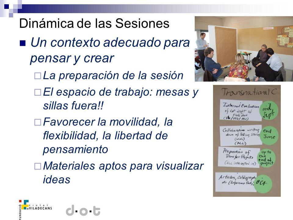 Dinámica de las Sesiones Un contexto adecuado para pensar y crear