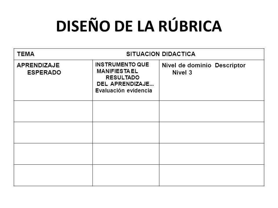 DISEÑO DE LA RÚBRICA TEMA SITUACION DIDACTICA APRENDIZAJE ESPERADO