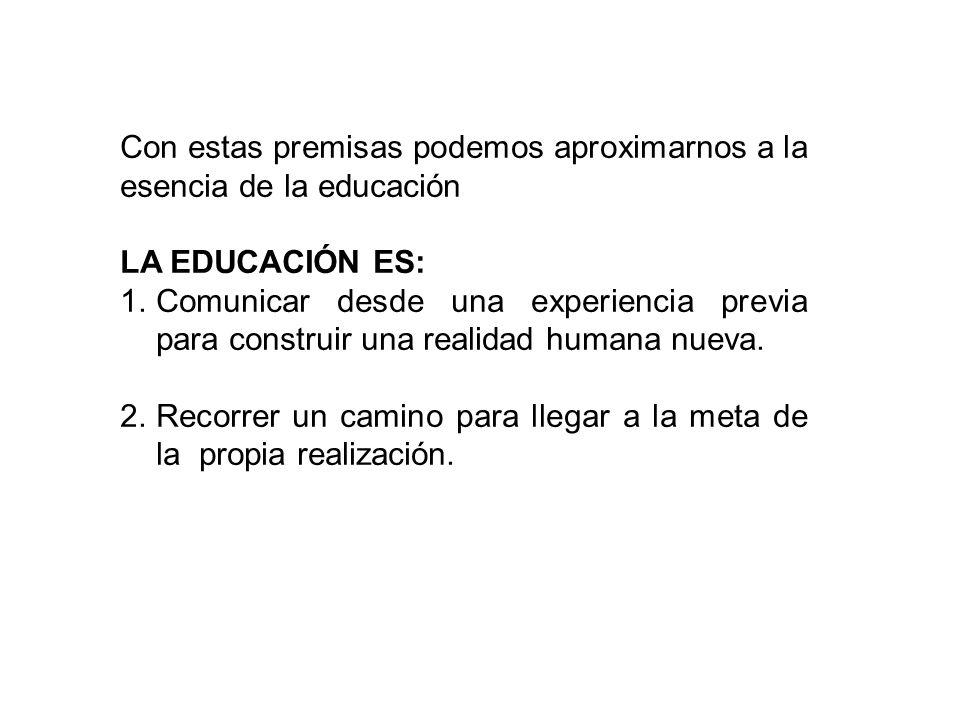 Con estas premisas podemos aproximarnos a la esencia de la educación
