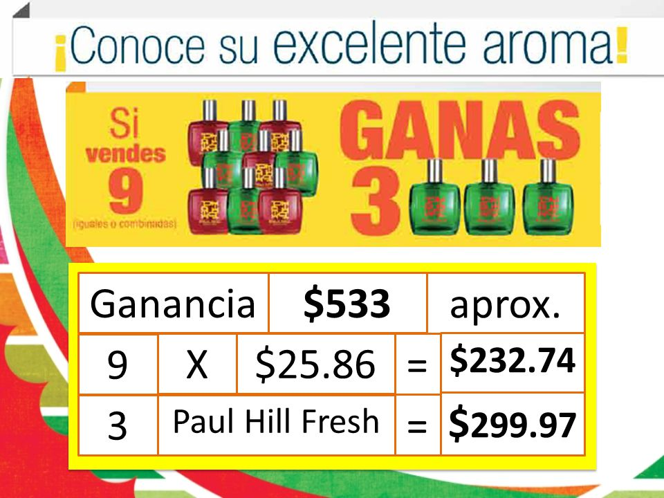 Ganancia $533 aprox. 9 X $25.86 = $232.74 3 Paul Hill Fresh $299.97