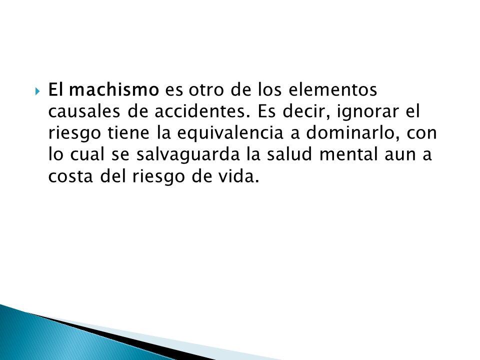 El machismo es otro de los elementos causales de accidentes